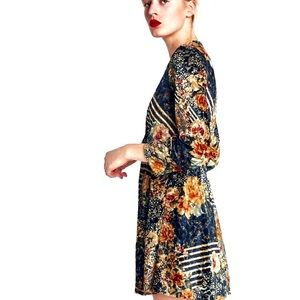 NWOT Zara Floral Animal Print Long Sleeve Dress M